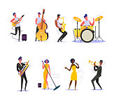 Set of musicians performing on scene. Group of musicians singing and playing musical instruments. Performance concept. Vector illustration can be used for presentation, project, webpage