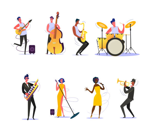 set of musicians performing on scene - muzyk stock illustrations