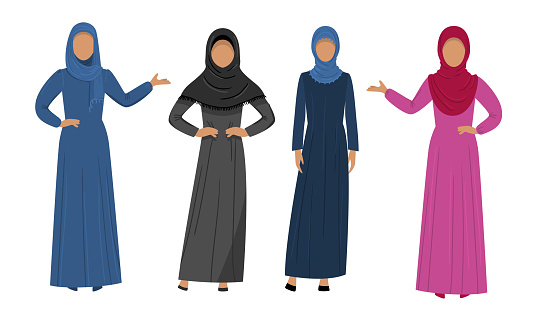 Collection set of different Muslim Arab women characters in traditional clothing. Ethnic clothes concept. Isolated icons set illustration on a white background in cartoon style.