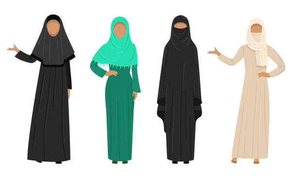 Set of Muslim Arabic women wearing traditional ethnic clothing. Vector illustration in flat cartoon style. Collection set of different Muslim Arab women characters in traditional clothing. Ethnic clothes concept. Isolated icons set illustration on a white background in cartoon style. religious veil stock illustrations