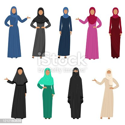 A collection set of different Muslim Arab women characters in traditional clothing. Ethnic clothes concept. Colorful vector flat isolated icons set.