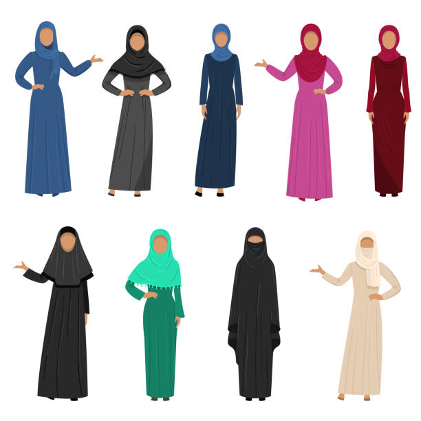 A set of Muslim Arabic women wearing traditional ethnic clothing. Vector illustration in flat cartoon style. A collection set of different Muslim Arab women characters in traditional clothing. Ethnic clothes concept. Colorful vector flat isolated icons set. religious veil stock illustrations