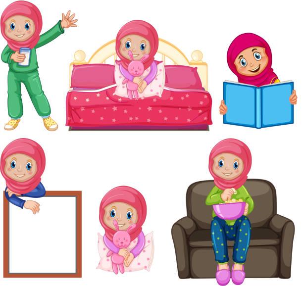 eine reihe von muslimischen mädchen und aktivität - puppenkurse stock-grafiken, -clipart, -cartoons und -symbole