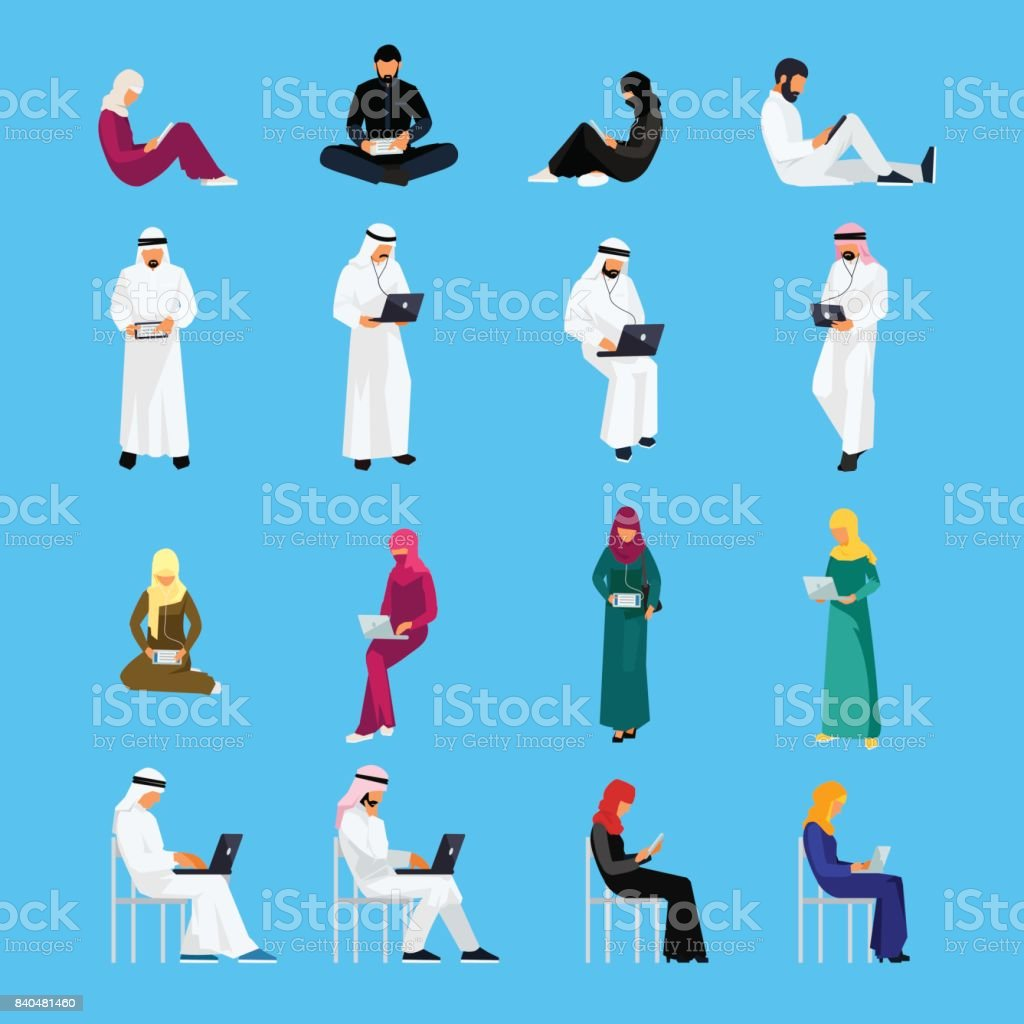 Set of Muslim people in a flat style isolated on a blue background. vector art illustration