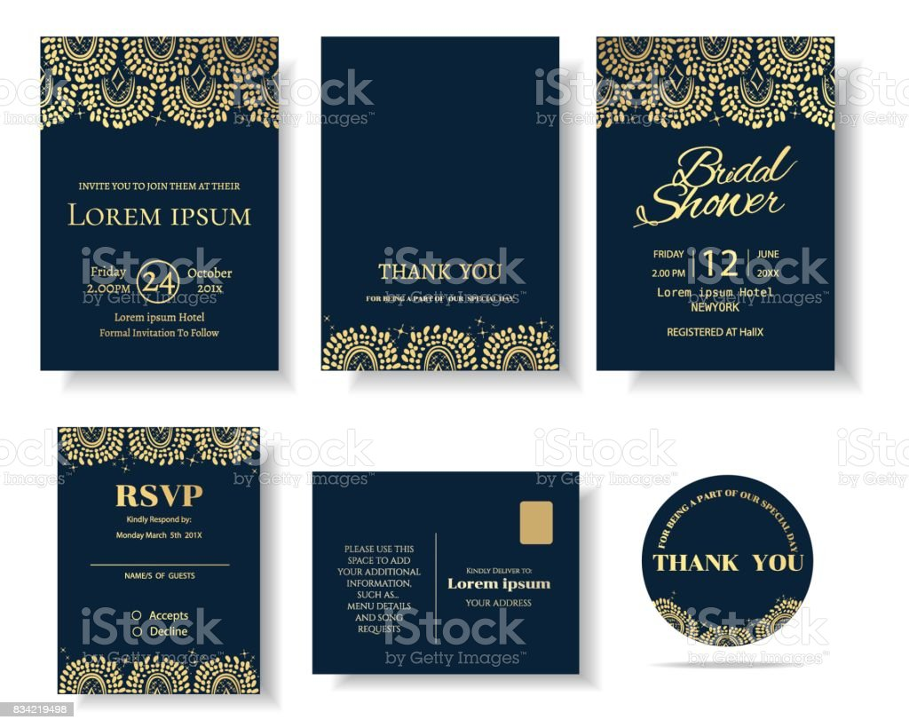 Set Of Muslim Wedding Invitation Card Template Greeting