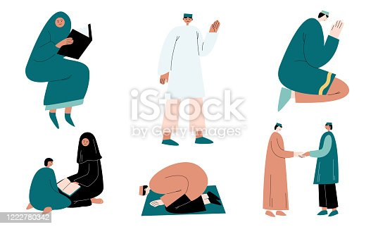 istock Set of muslim women and men in traditional clothing praying and greeting vector illustration 1222780342