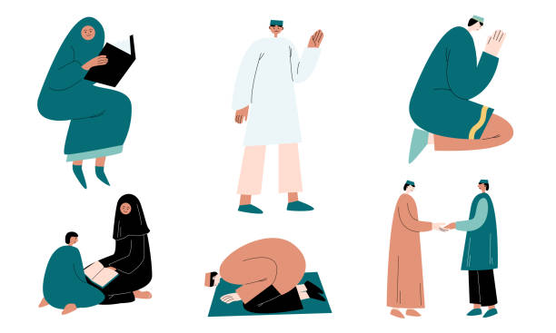 ilustrações de stock, clip art, desenhos animados e ícones de set of muslim women and men in traditional clothing praying and greeting vector illustration - cora��o