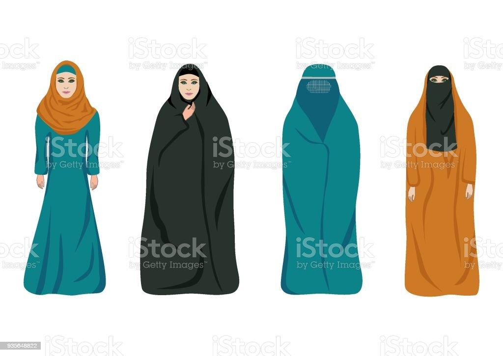 Set of muslim women vector art illustration