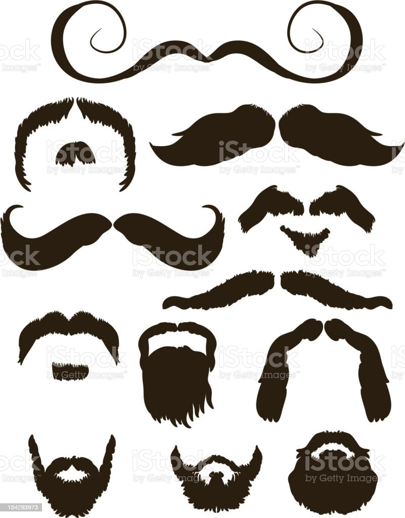 Set of mustache and beard silhouettes royalty-free stock vector art