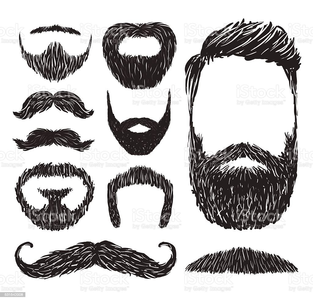 Set of mustache and beard silhouettes, vector illustration royalty-free set of mustache and beard silhouettes vector illustration stock illustration - download image now