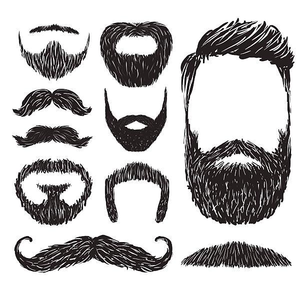 Set of mustache and beard silhouettes, vector illustration vector art illustration