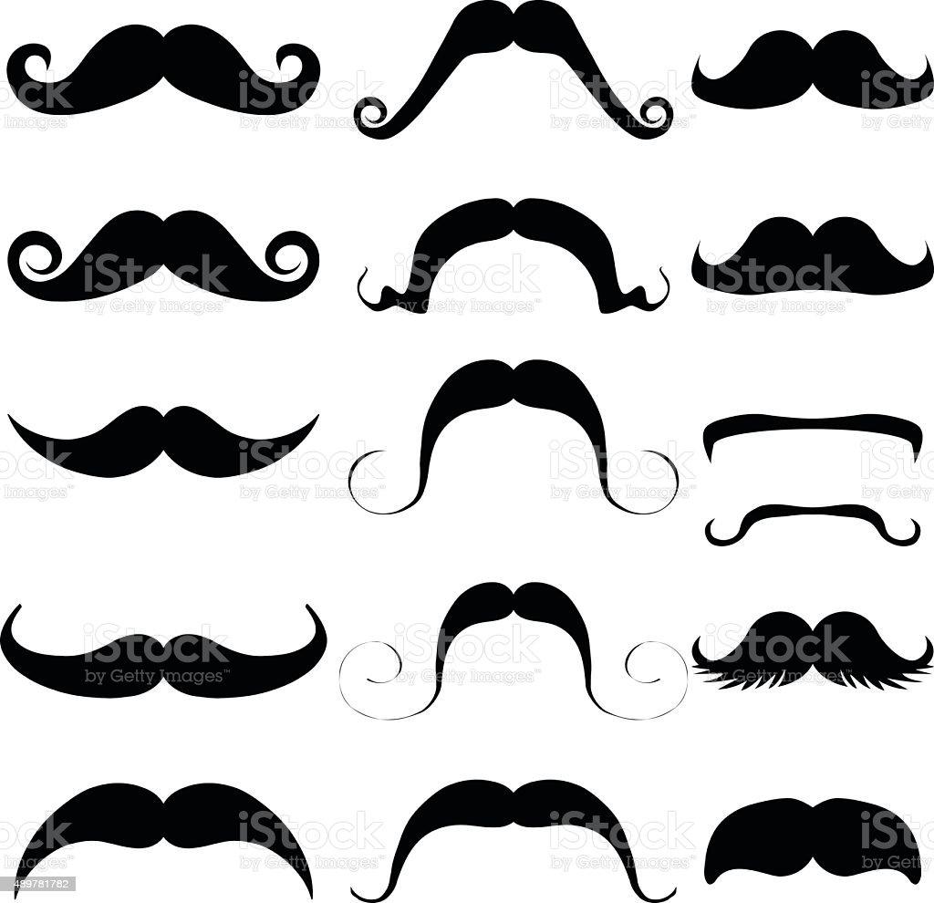 Set of mustache vector on white background set 1 vector art illustration