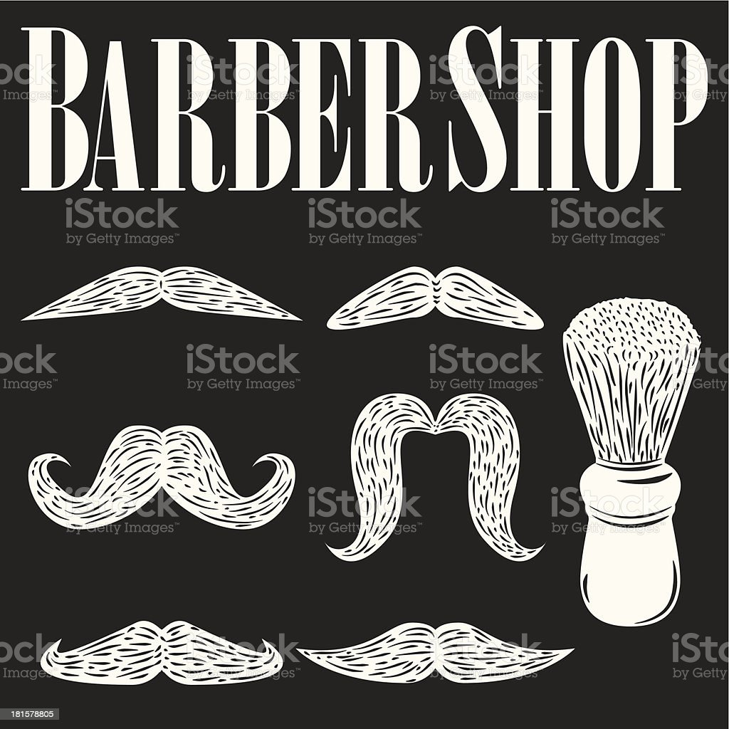 Set of Mustaches - Barbershop Vintage Collection royalty-free stock vector art