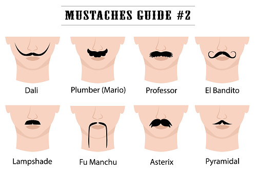 Set of mustaches on mans face. Isolated on white background. Vector illustration.