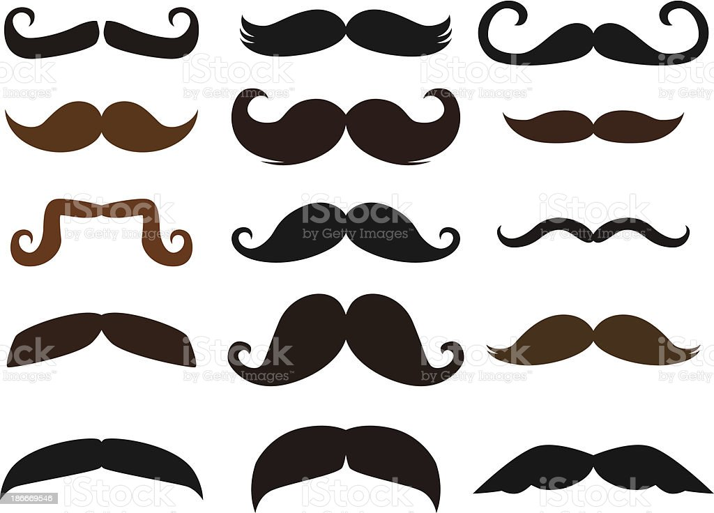 Set of Mustaches vector art illustration