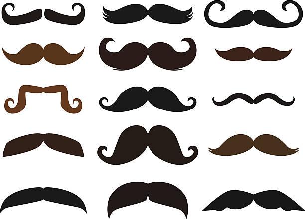 satz von mustaches - schnurbart stock-grafiken, -clipart, -cartoons und -symbole