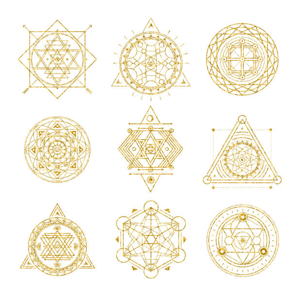 set of mystical sacred golden line shapes . vector - freemasons stock illustrations