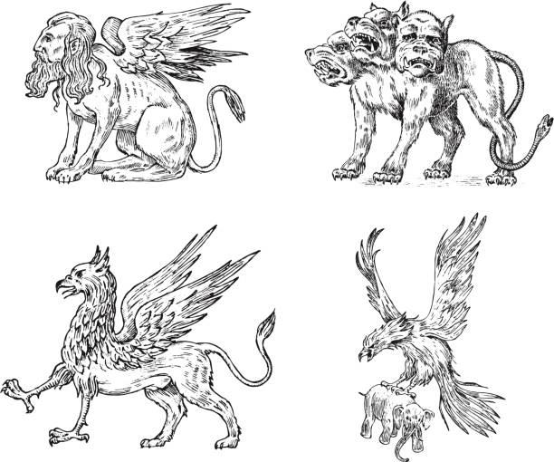 신화적인 동물의 집합입니다. 켈베로스 스핑크스 그리핀 신화 바 실 리스크 새입니다. 그리스 생물입니다. 새겨진된 손으로 그려진된 골동품 오래 된 빈티지 밑그림입니다. - 그리핀 stock illustrations
