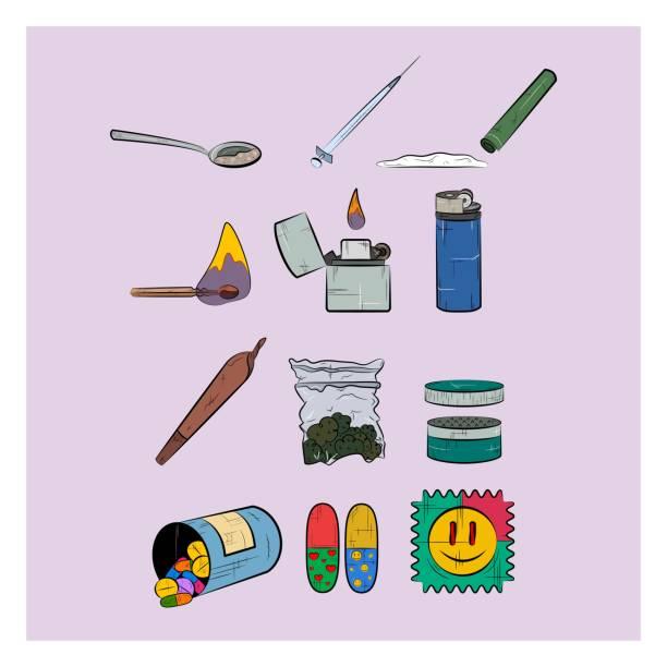 Set of narcotics. Different narcotic drug dependence. Colorful icons. Set of narcotics. Different narcotic drug dependence. Colorful icons. acid stock illustrations