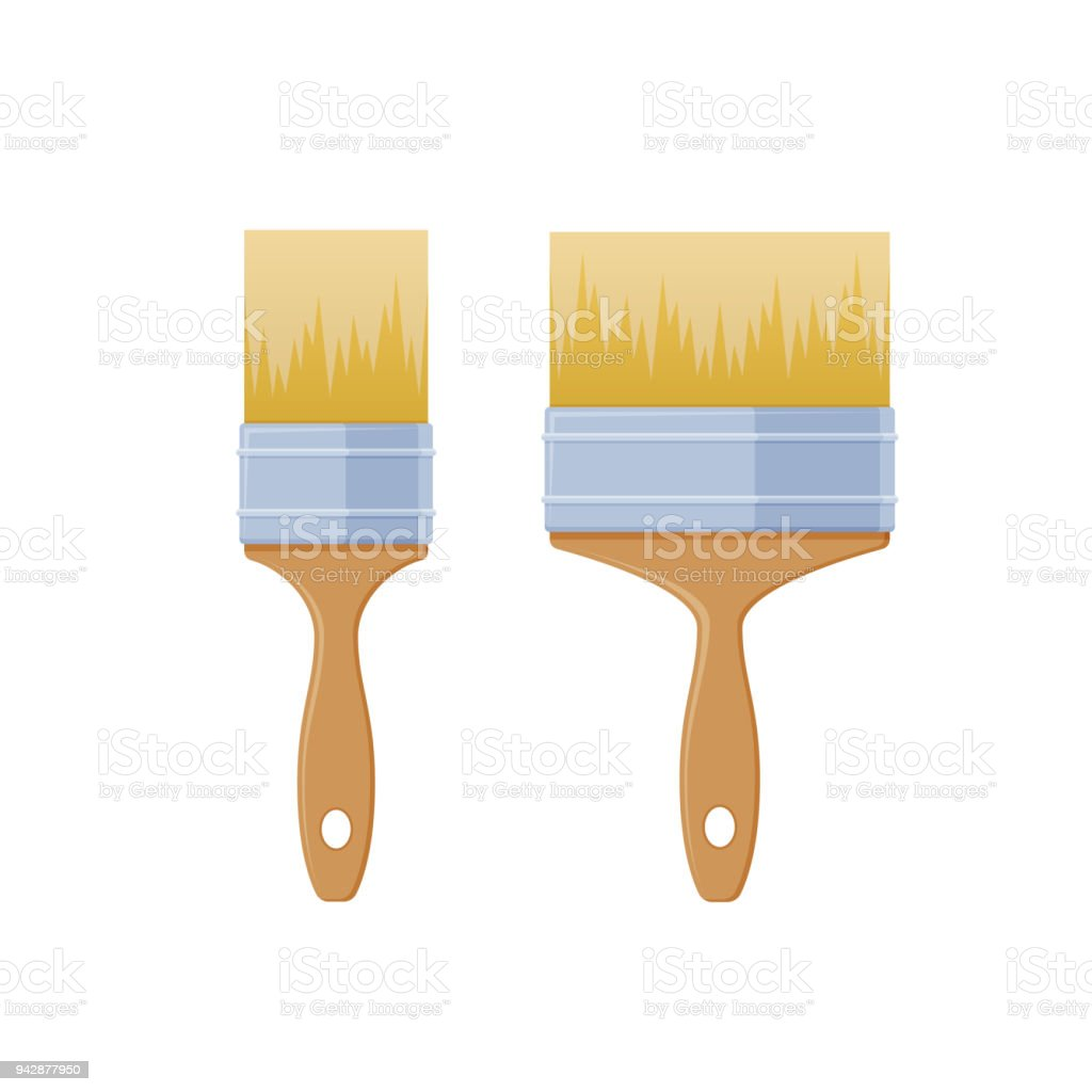 Set Of Narrow And Wide Brushes For Working With Paints Stock ...