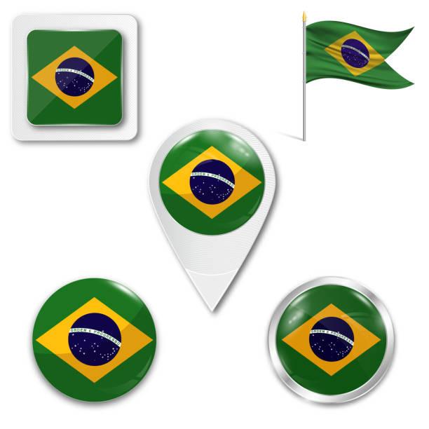 bildbanksillustrationer, clip art samt tecknat material och ikoner med uppsättning av flagga - brasilien flagga