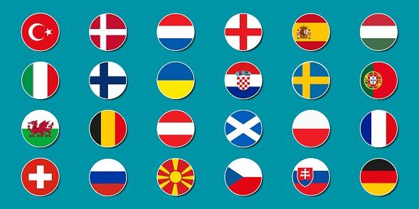 Set of national flags of football teams Euro 2020