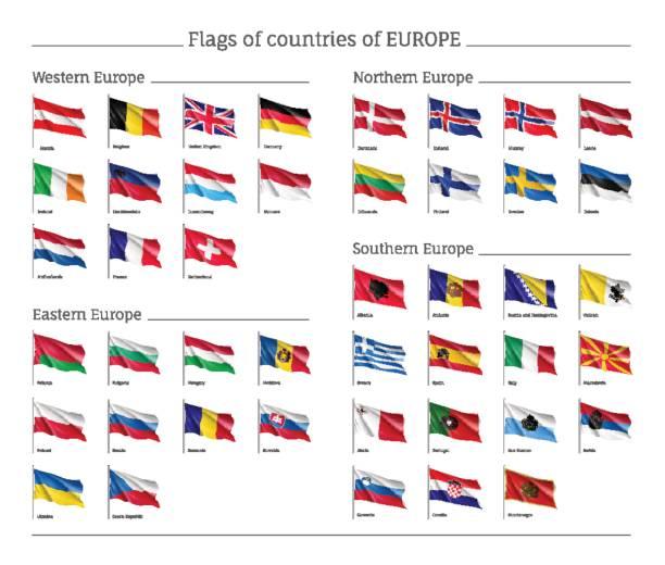 ilustraciones, imágenes clip art, dibujos animados e iconos de stock de conjunto de banderas nacionales en el asta de la bandera. - bandera irlandesa