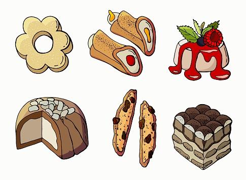 Set of national Italian desserts. Tiramisu, Panna Cotta, Cannoli, Biscotti, Zuccotto, Canestrelli.