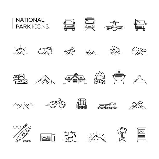 set von nationalpark und tourismus dünne linie icons. - nationalpark stock-grafiken, -clipart, -cartoons und -symbole