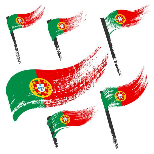 Set of national symbols - grunge flags of Portugal isolated on white background. Hand-drawn illustration. Flat style. vector art illustration