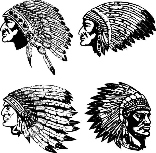 Conjunto de chefes nativos americanos em Diadema. Elementos de design para o rótulo, emblema, sinal, cartaz, t-shirt. Ilustração vetorial - ilustração de arte em vetor