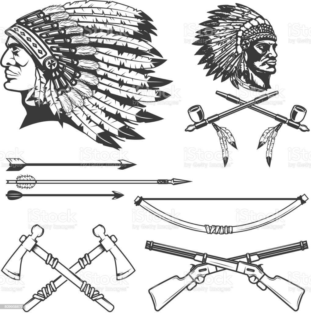 Set of native american indians chiefs heads. National american indians headdress, bow, arrows, smoking pipe, tomahawk. Vector illustration vector art illustration