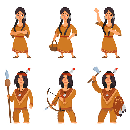 Set of native americans in different poses.