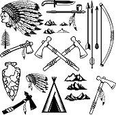 Set of native americans weapon. Mountains icons. Design elements for logo, label, emblem, sign, poster. Vector illustration