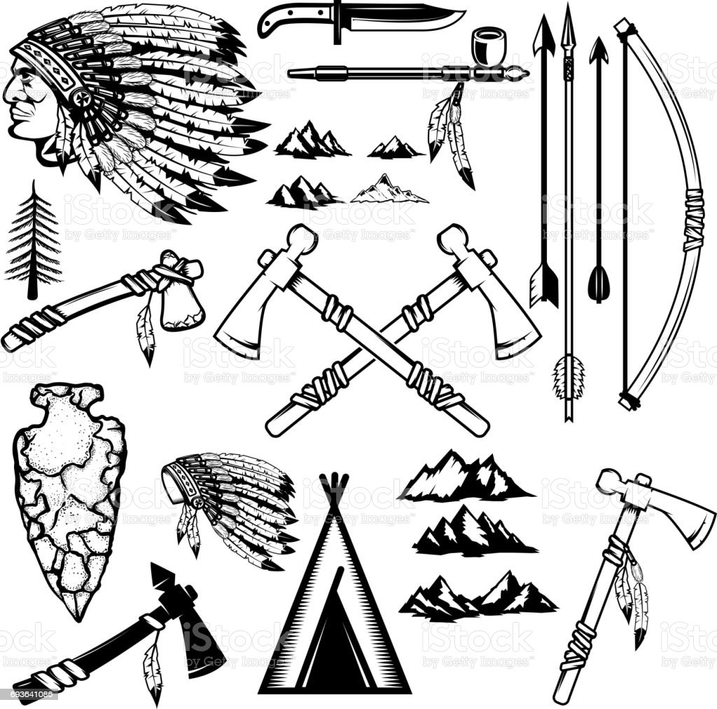 Set of native americans weapon. Mountains icons. Design elements for logo, label, emblem, sign, poster. Vector illustration vector art illustration