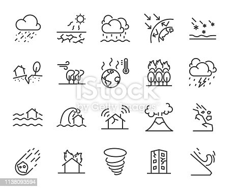 set of natural disaster icons, such as flood, wave, weather, eruption, storm, hot