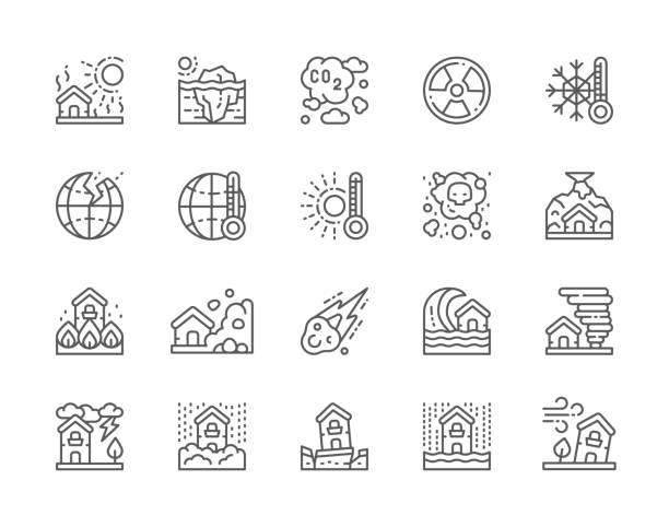 illustrations, cliparts, dessins animés et icônes de ensemble d'icônes de ligne de catastrophe naturelle. sécheresse, réchauffement planétaire, pollution atmosphérique, tremblement de terre, chutes de neige, tempête de vent et plus. - desastre natural