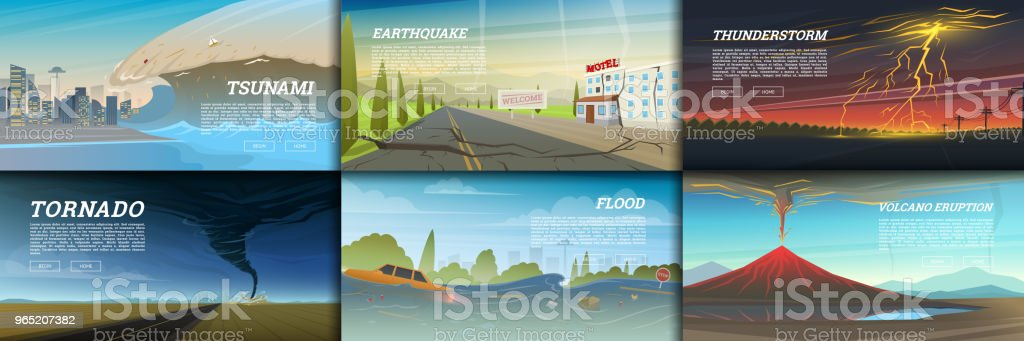 Set of natural disaster or cataclysms. Catastrophe and crisis Background. Realistic Tornado or storm, Lightning Strike, Rain Thunderstorm, Volcano eruption, Flood and Earthquake, Tsunami and Big wave royalty-free set of natural disaster or cataclysms catastrophe and crisis background realistic tornado or storm lightning strike rain thunderstorm volcano eruption flood and earthquake tsunami and big wave stock vector art & more images of no people
