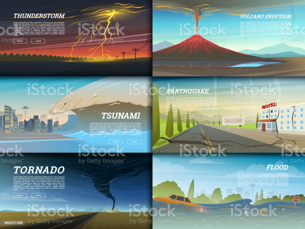 Set of natural disaster or cataclysms. Catastrophe and crisis Background. Realistic Tornado or storm, Lightning Strike, Rain Thunderstorm, Volcano eruption, Flood and Earthquake, Tsunami and Big wave set of natural disaster or cataclysms catastrophe and crisis background realistic tornado or storm lightning strike rain thunderstorm volcano eruption flood and earthquake tsunami and big wave - stockowe grafiki wektorowe i więcej obrazów bez ludzi royalty-free