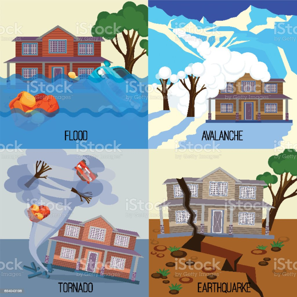 Set of natural disasters banners tornado, earthquake, avalanche, flood vector art illustration