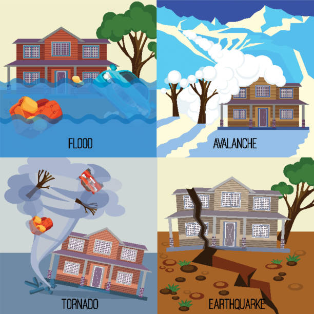Set of natural disasters banners tornado, earthquake, avalanche, flood Set of natural disasters banners realistic vector illustrations. Snow avalanche in mountains. Flood on city streets. Tornado twisted cottage house. Earthquake destroy everything avalanche stock illustrations