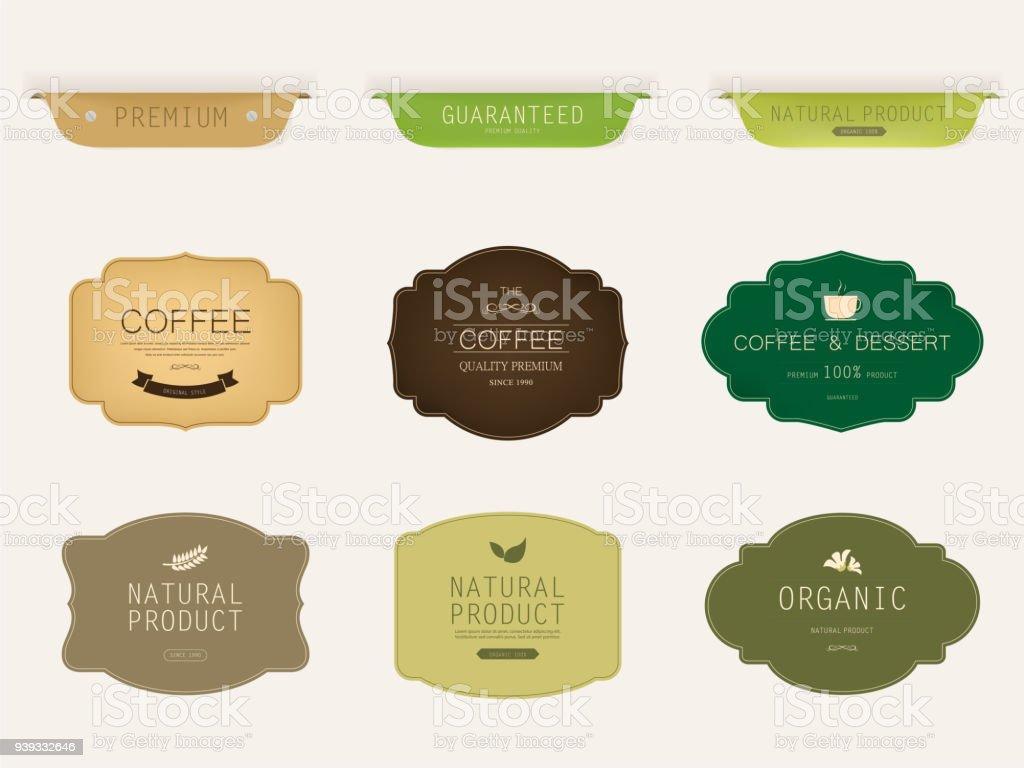 set of natural label and organic label green color. vintage labels...