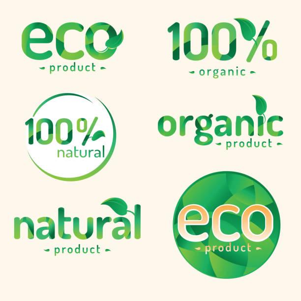 Set of natural organic food labels decorative labels, vector artwork organic farm stock illustrations