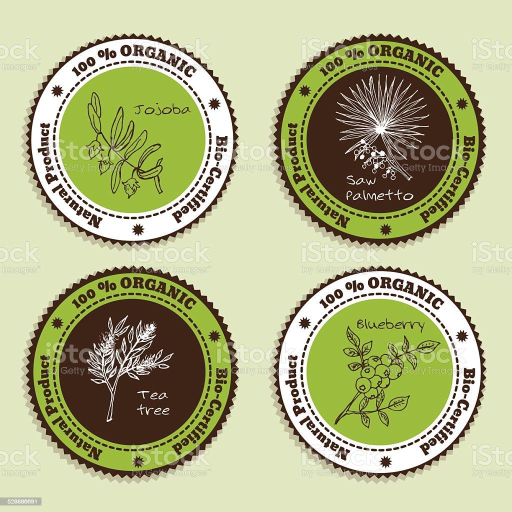 Set of Natural Organic Product badges vector art illustration