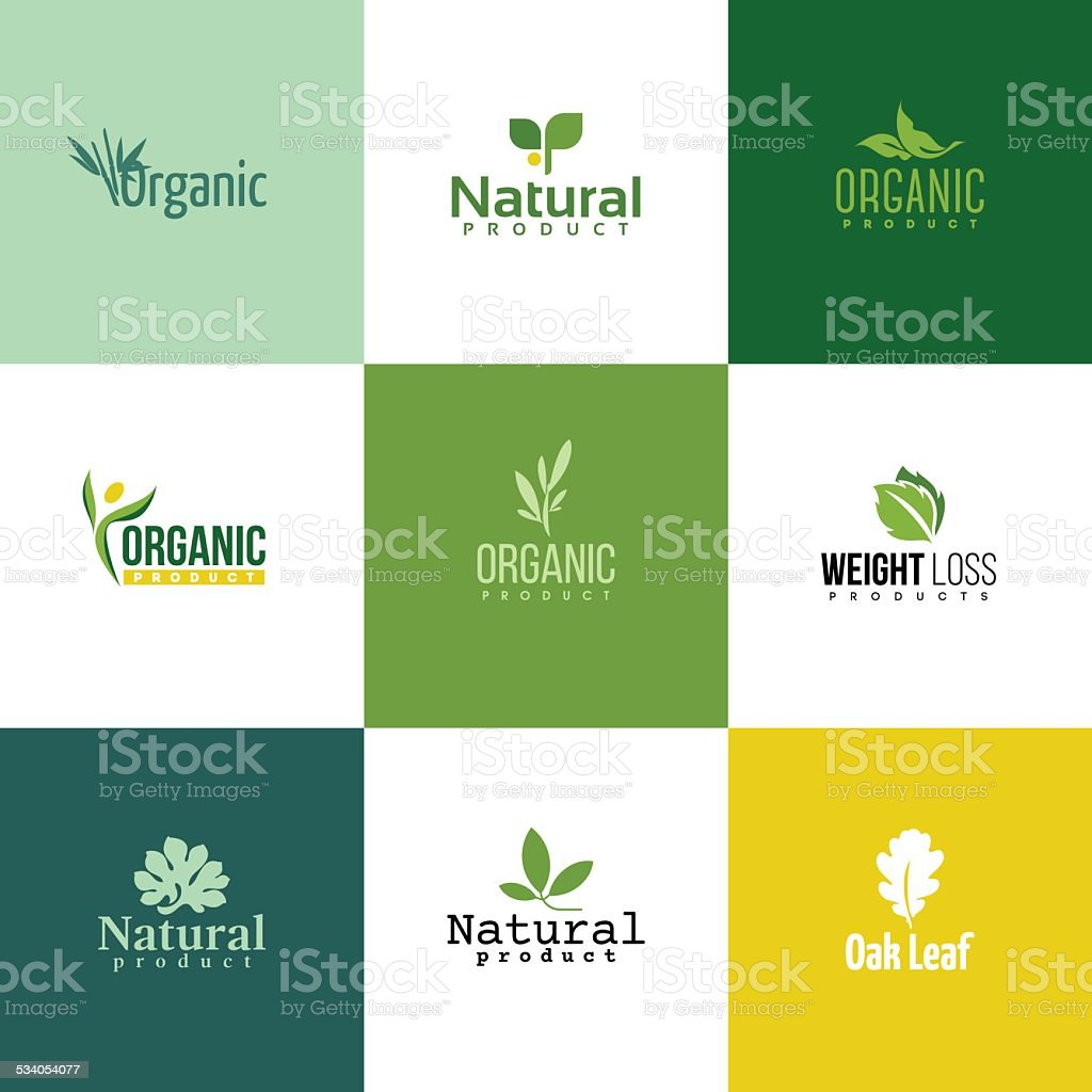 Set of natural & organic products logo templates vector art illustration