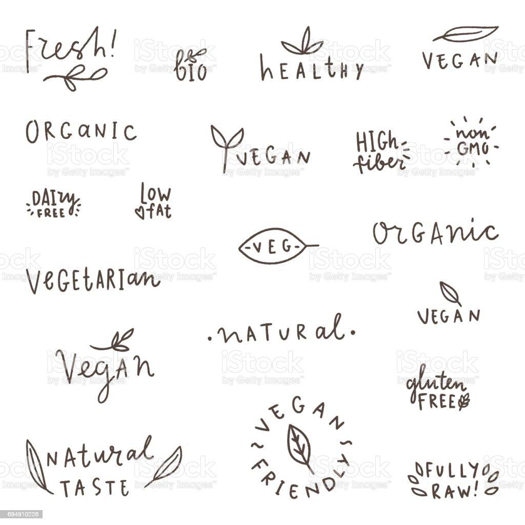 Set of natural, organic, vegetarian, vegan labels. vector art illustration