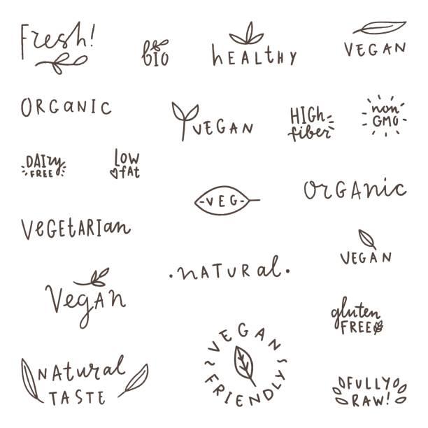 reihe von natürlichen, bio, vegetarisch, vegan-etiketten. - gluten stock-grafiken, -clipart, -cartoons und -symbole