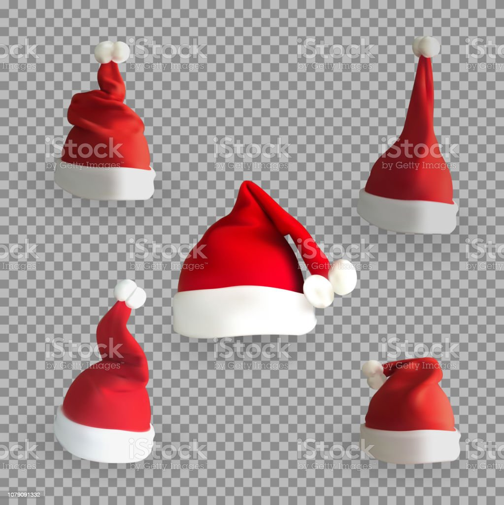Transparent Christmas Hat.Set Of Naturalistic 3d Version Of Santa Claus Hat On A