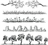 Set of nature hand drawn dividers. vector illustration, fully editable.