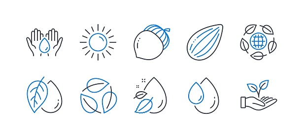 Set of Nature icons, such as Mineral oil, Sun, Almond nut. Vector